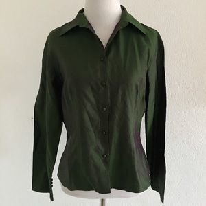 Ann Taylor 100% Silk Green Button Down Shirt 4P